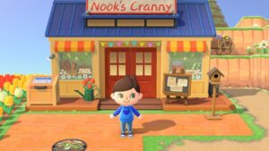 A person standing outside Nook's Cranny