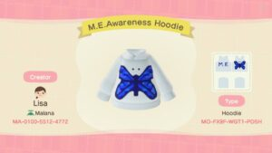 M.E. Awareness Hoodie With Blue Butterfly Design