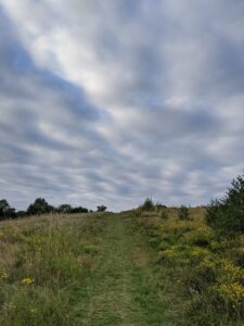 A path going up a slope and a cloudy sky